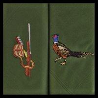Kapesníky pánské 2ks, bažant a puška - Tématicky vyšívané pánské kapesníky z 100% mercerované bavlny.