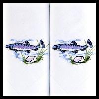 Kapesník pánský 2ks, ryba - Tématicky vyšívané pánské kapesníky z 100% mercerované bavlny.