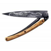 Nůž deejo Black tatto, Warmblood, olive wood, 37g, 1GB140 - Nůž DEEJO - téměř umělecké dílo. Ultralehký skládací nožík s propracovaným designem a možností gravírování.