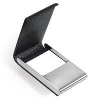 Pouzdro na vizitky TROIKA MIDNIGHT - Luxusní pouzdro na vizitky / karty z ušlechtilé oceli a pravé kůže s gravírováním.