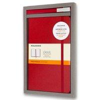 Sada zápisník MOLESKINE linkovaný T/L červený + roller - Notes MOLESKINE - spolehlivý pomocník i ikonický doplněk image. Kapsa na výstřižky, poznámky, vizitky. Textilní záložka, pružný převaz. Skladem, expedice ihned!