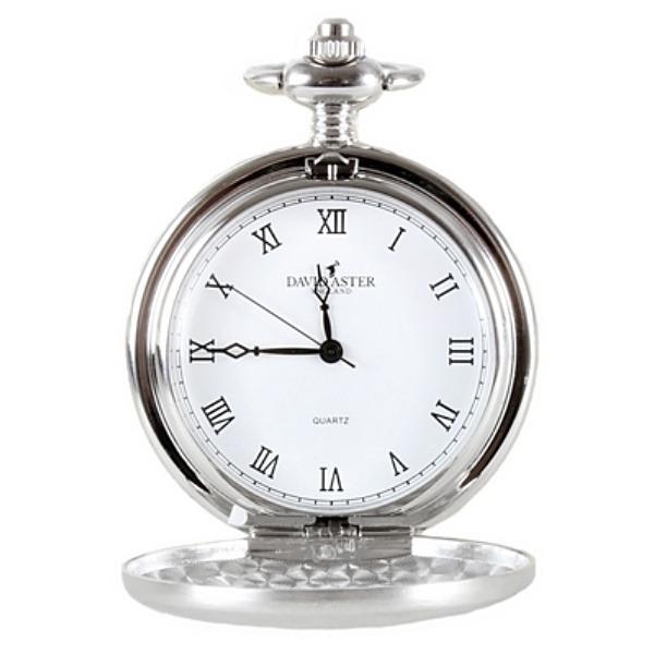 Kapesní otvírací hodinky David Aster, stříbrné + DÁREK ZDARMA