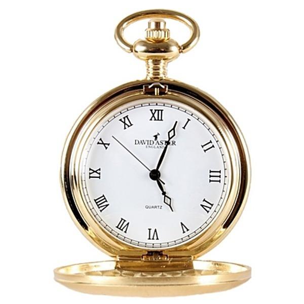 Kapesní otvírací hodinky David Aster, zlacené + DÁREK ZDARMA