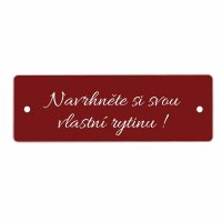Jmenovka na dveře PRAHA červený 95x32, k přišroubování - s gravírováním