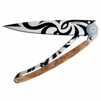 Nůž deejo 1CB020 Tattoo Tribal Juniper wood, 37g - s gravírováním