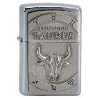Zapalovac ZIPPO#200, Taurus ( Býk ) Emblem, Brushed Chrome - s gravírováním