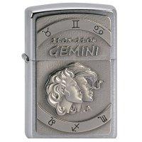 Zapalovač ZIPPO#200, Gemini Emblem, Brushed Chrome - s gravírováním