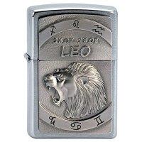 Zapalovač ZIPPO#200, Leo Emblem, Brushed Chrome - s gravírováním